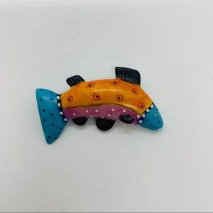 Colorful Fish Brooch Rainbow Trout Hand Painted
